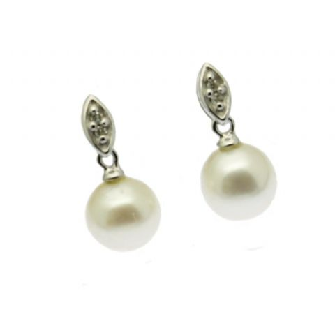 Diamond & Pearl Drop Earrings 9ct White Gold Stud Cultured Pearl
